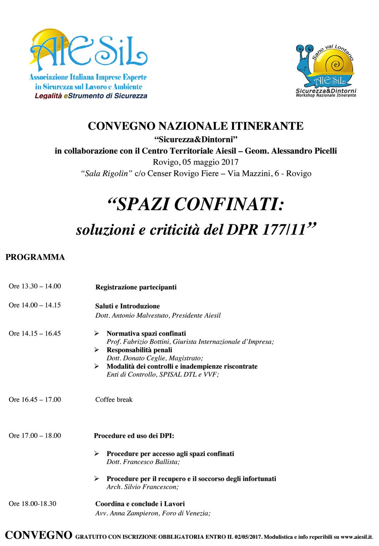 PROGRAMMA convegno ROVIGO SPAZI CONFINATI 5MAGGIO2017 SOLUZIONI EDILI INDUSTRIALI